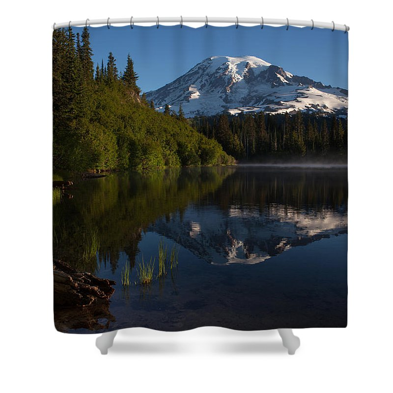 Mount Rainier Shower Curtain featuring the photograph Peaceful Mountain Serenity by Mike Reid