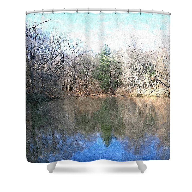 Pond Shower Curtain featuring the painting Peaceful Retreat 2 by Sara Raber