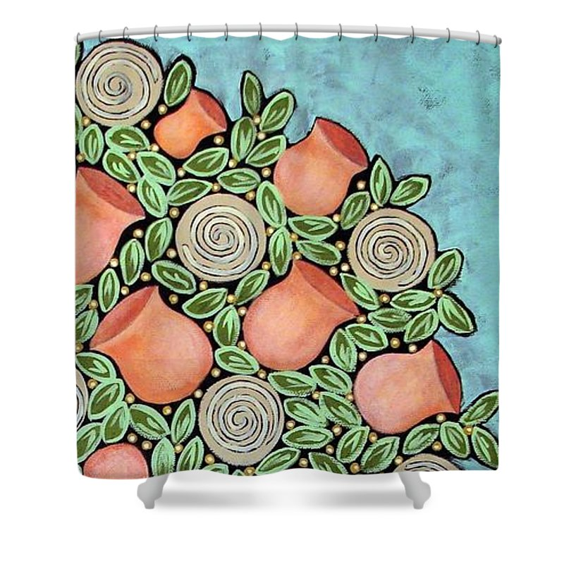 Vase Shower Curtain featuring the painting Peach Blossoms And Licorice Swirls by Linda Stewart