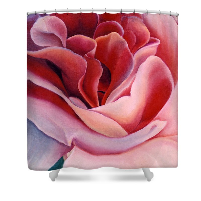 Flower Prints Shower Curtain featuring the painting Peach Rose by Anni Adkins