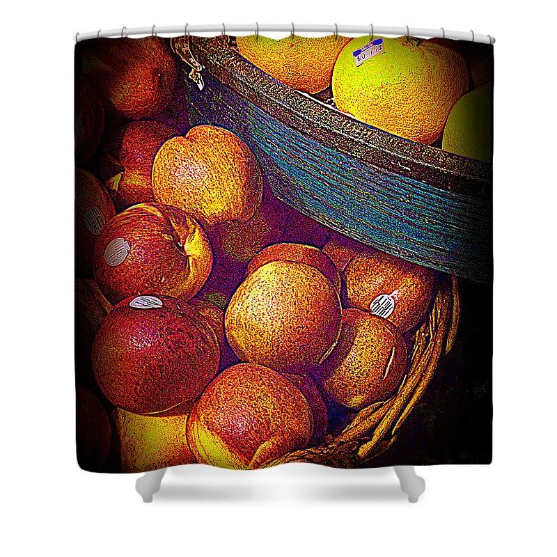 Fruit Shower Curtain featuring the photograph Peaches And Citrus With Blue Wooden Basket by Miriam Danar