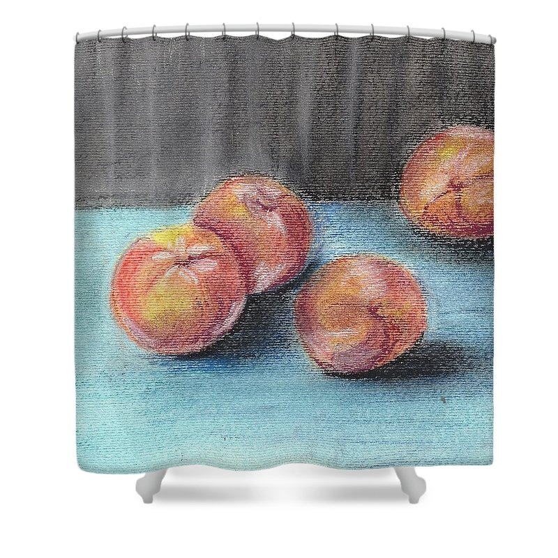 Shower Curtain featuring the painting Peaches by Hae Kim