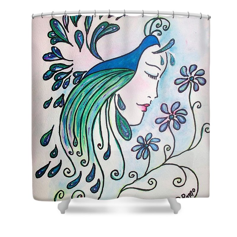 Peacock Shower Curtain featuring the painting Peacock Dawn by Robin Monroe