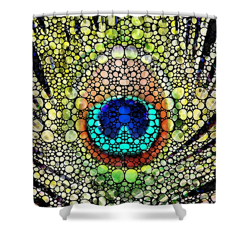Peacock Shower Curtain featuring the painting Peacock Feather - Stone Rock'd Art By Sharon Cummings by Sharon Cummings
