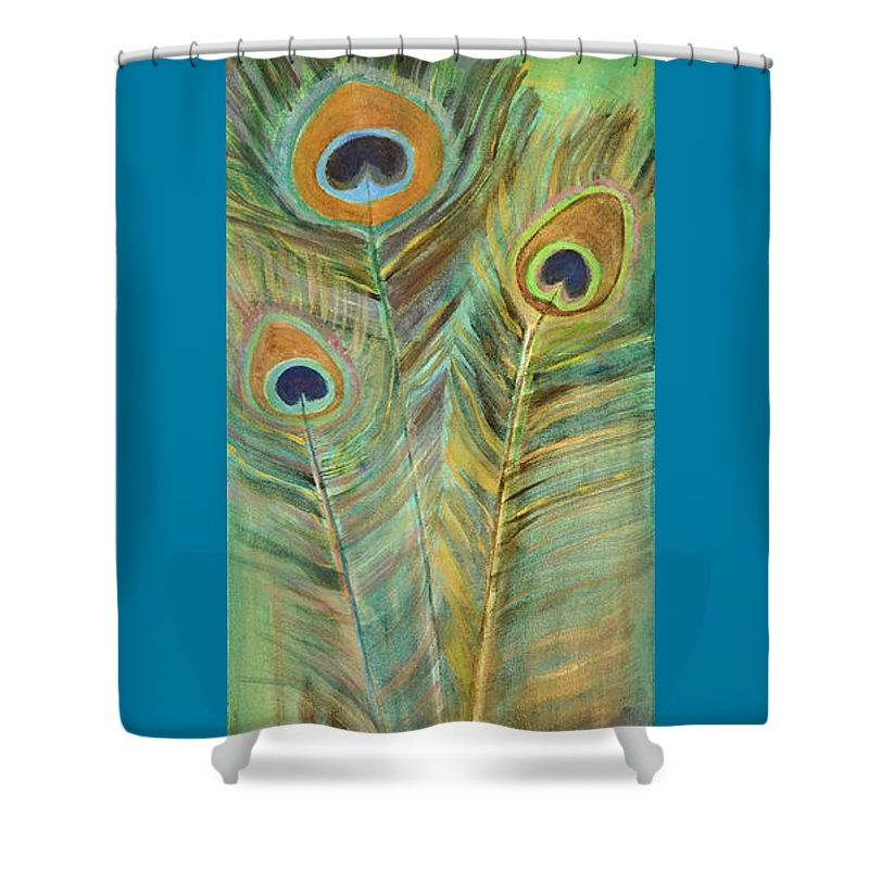 Peacock Shower Curtain featuring the painting Peacock Feathers by Carol Oufnac Mahan