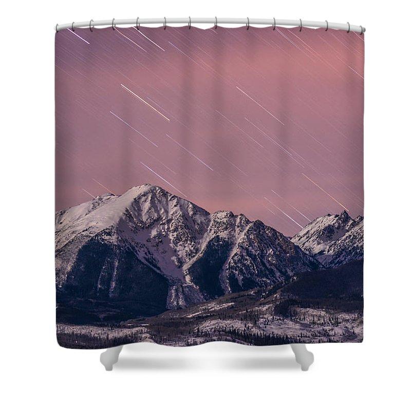 Longs Peak Shower Curtain featuring the photograph Peak Curiosity by Jon Blake