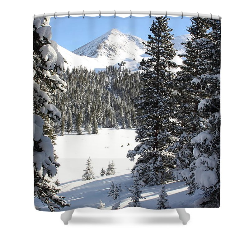 Colorado Shower Curtain featuring the photograph Peak Peek by Eric Glaser