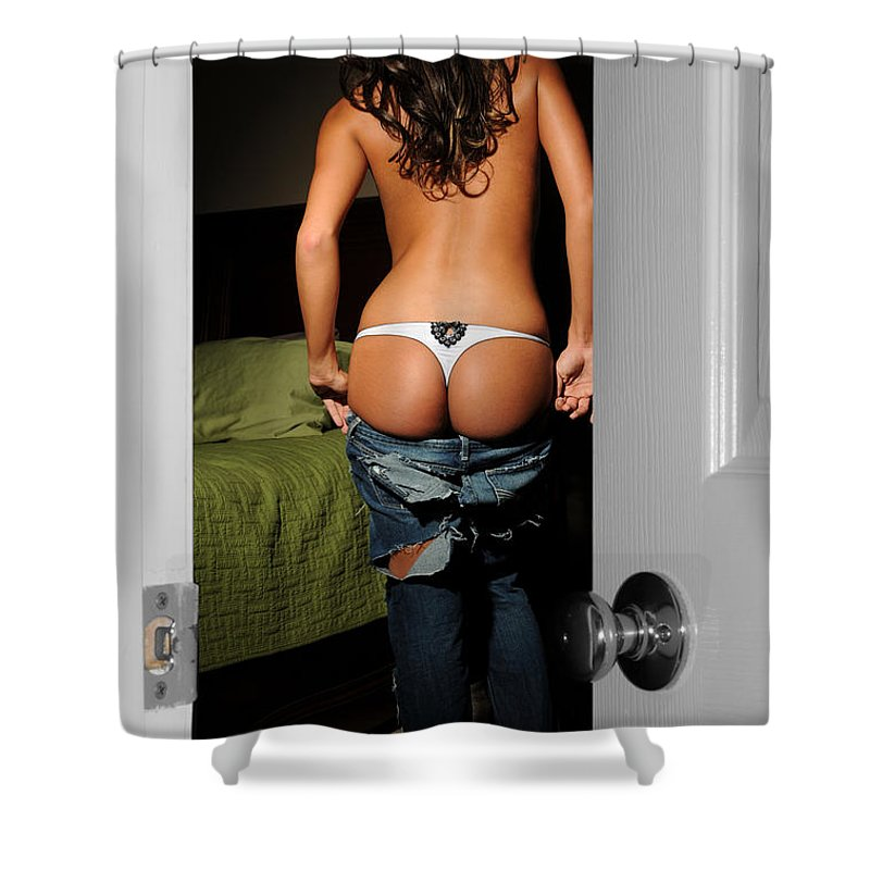 Door Shower Curtain featuring the photograph Peaking Through An Open Door by Jt PhotoDesign