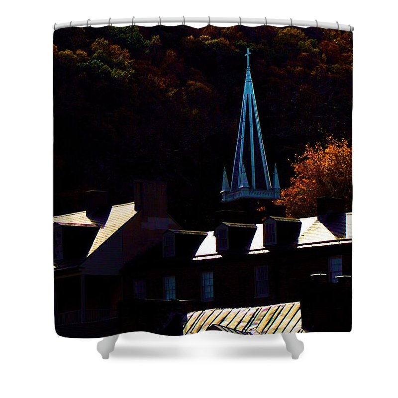 Architectural Art Shower Curtain featuring the photograph Peaks N Valley by Robert McCubbin