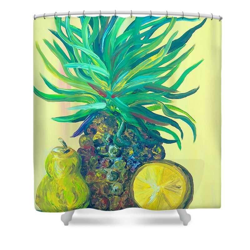 Pear Shower Curtain featuring the painting Pear And Pineapple by Eloise Schneider Mote