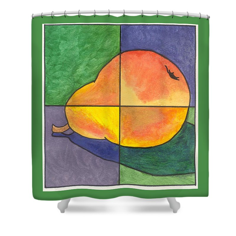 Pear Shower Curtain featuring the painting Pear II by Micah Guenther
