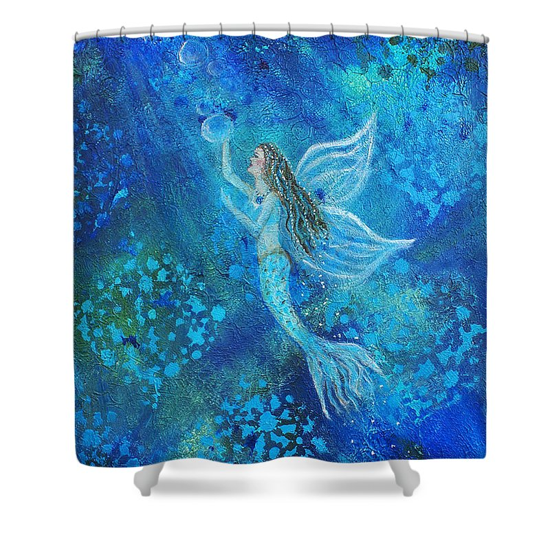 Mermaid Angel Shower Curtain featuring the painting Pearl Out Of The Depths by The Art With A Heart By Charlotte Phillips