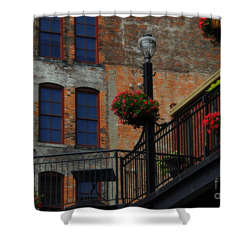 Urban Shower Curtain featuring the photograph Pearl Street Grill by Kathleen Struckle