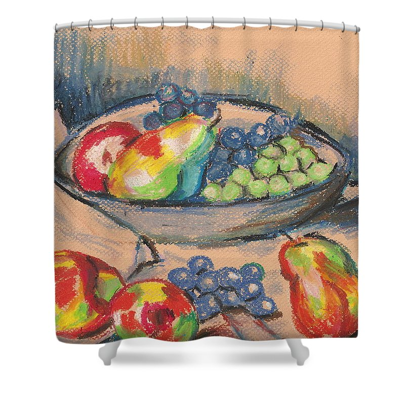 Shower Curtain featuring the painting Pears And Grapes 2 by Hae Kim