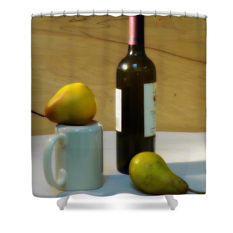 Setting Shower Curtain featuring the photograph Pears And Wine by Deborah Crew-Johnson