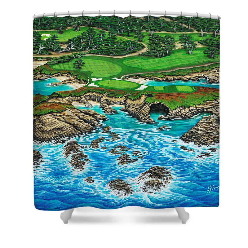 Ocean Shower Curtain featuring the painting Pebble Beach 15th Hole-north by Jane Girardot