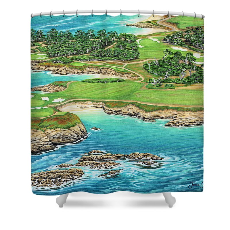 Ocean Shower Curtain featuring the painting Pebble Beach 15th Hole-south by Jane Girardot