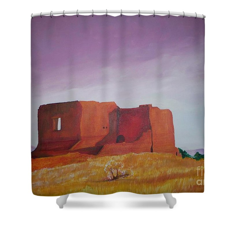Western Shower Curtain featuring the painting Pecos Mission Landscape by Eric Schiabor