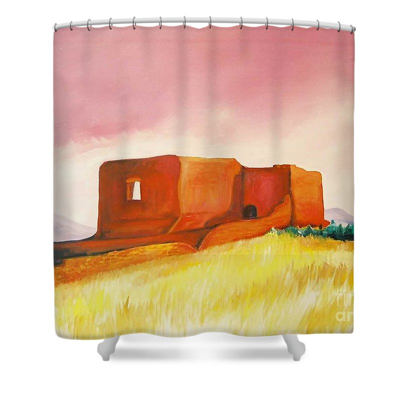 Western Landscapes Shower Curtain featuring the painting Pecos Mission Nm by Eric Schiabor