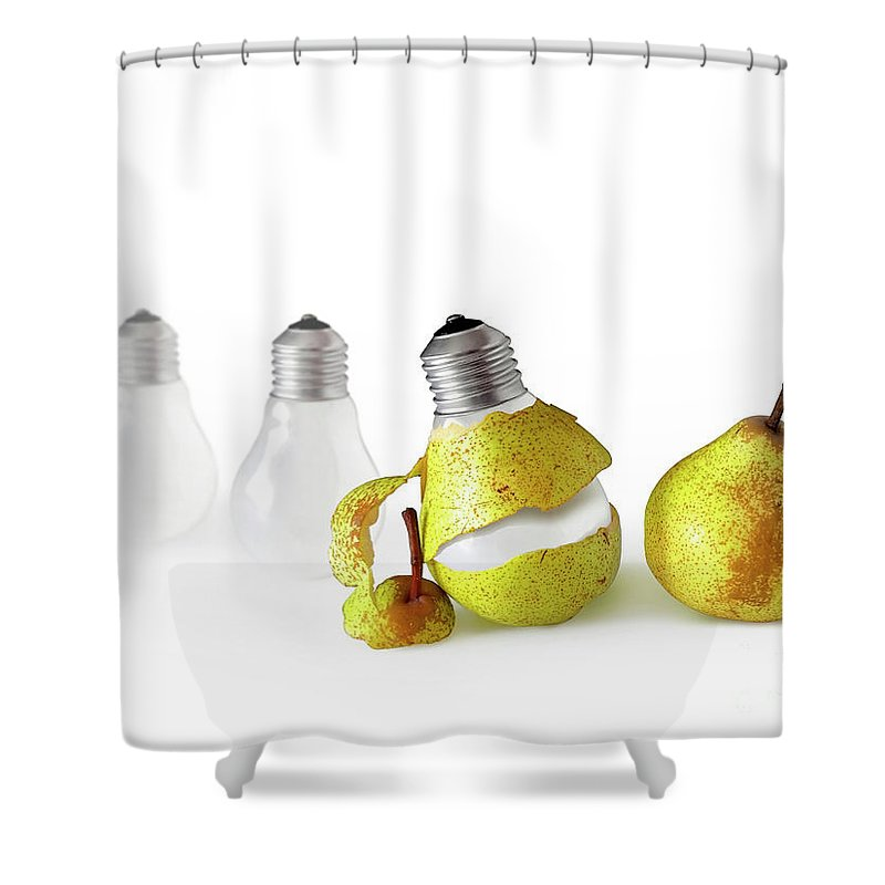 Pear Shower Curtain featuring the photograph Peeled Bulb by Carlos Caetano