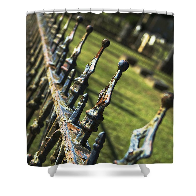 Graveyard Shower Curtain featuring the photograph Peeling Graveyard Perspective by Kathy Clark