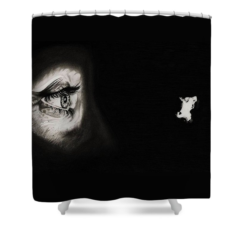 Psycho Shower Curtain Featuring The Drawing Peeping Tom