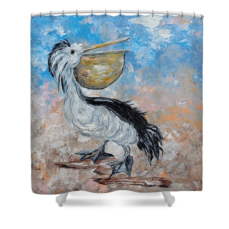 Pelican Shower Curtain featuring the painting Pelican Beach Walk - Impressionist by Eloise Schneider