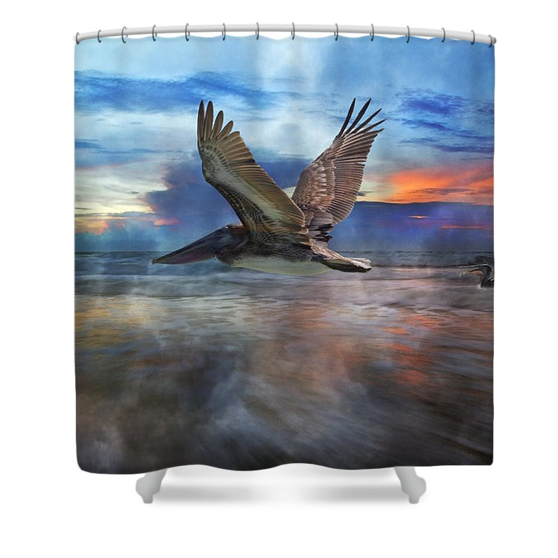 Pelican Shower Curtain featuring the photograph Pelican Sunrise by Betsy Knapp