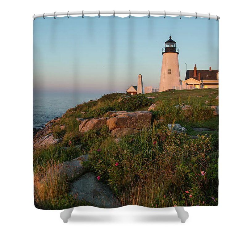Tranquility Shower Curtain featuring the photograph Pemaquid Point Maine Lighthouse by Dave Mention Photography