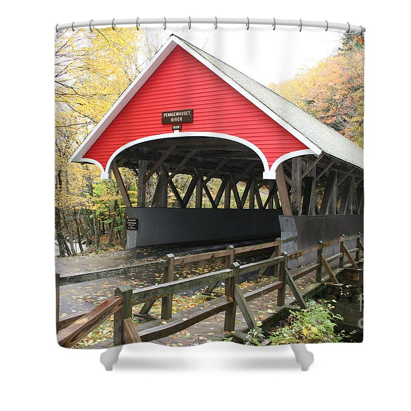 Covered Bridge Shower Curtain featuring the photograph Pemigewasset River Covered Bridge In Fall by Christiane Schulze Art And Photography