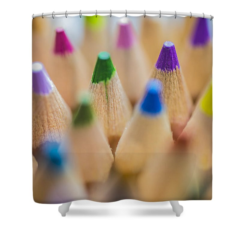 Art Shower Curtain featuring the photograph Pencils Colored In Macro by David Haskett II
