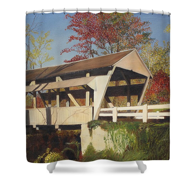 covered Bridge Shower Curtain featuring the painting Pennsylvania Covered Bridge by Barbara McDevitt