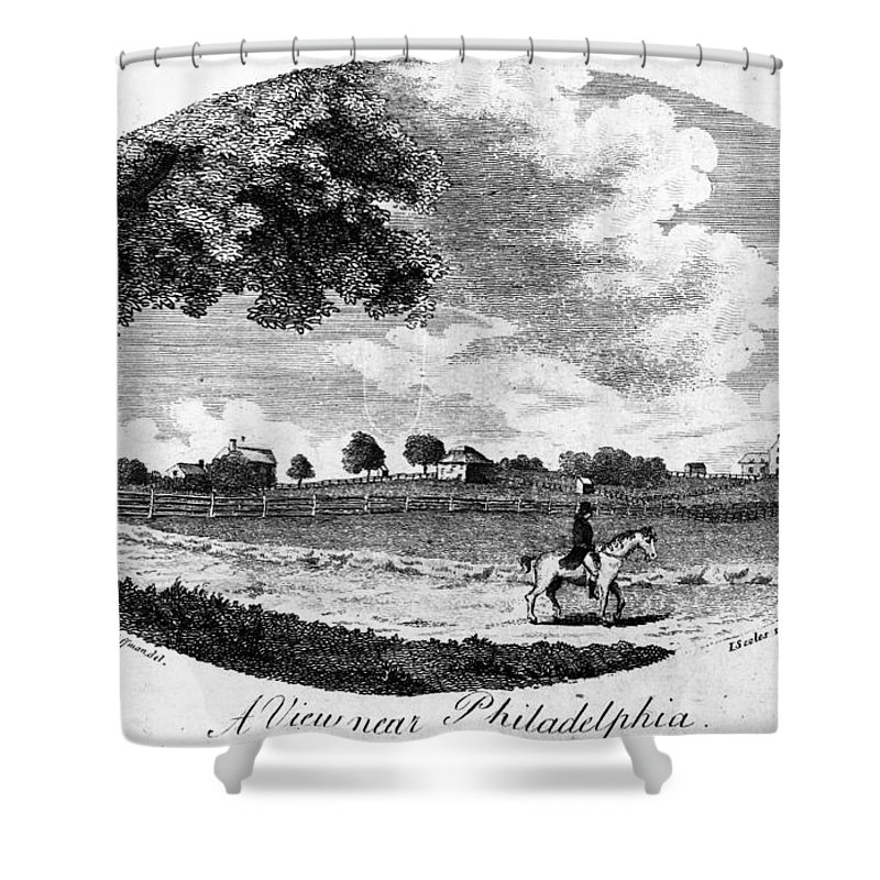 1795 Shower Curtain featuring the painting Pennsylvania Farm, 1795 by Granger