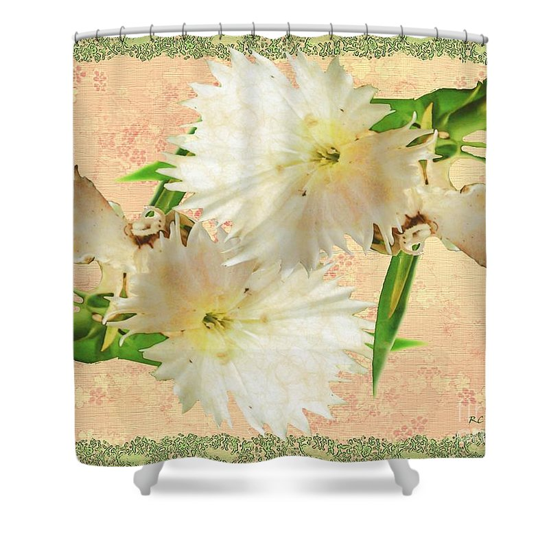 Decoupage Shower Curtain featuring the painting Penny Postcard Cheerful by RC DeWinter