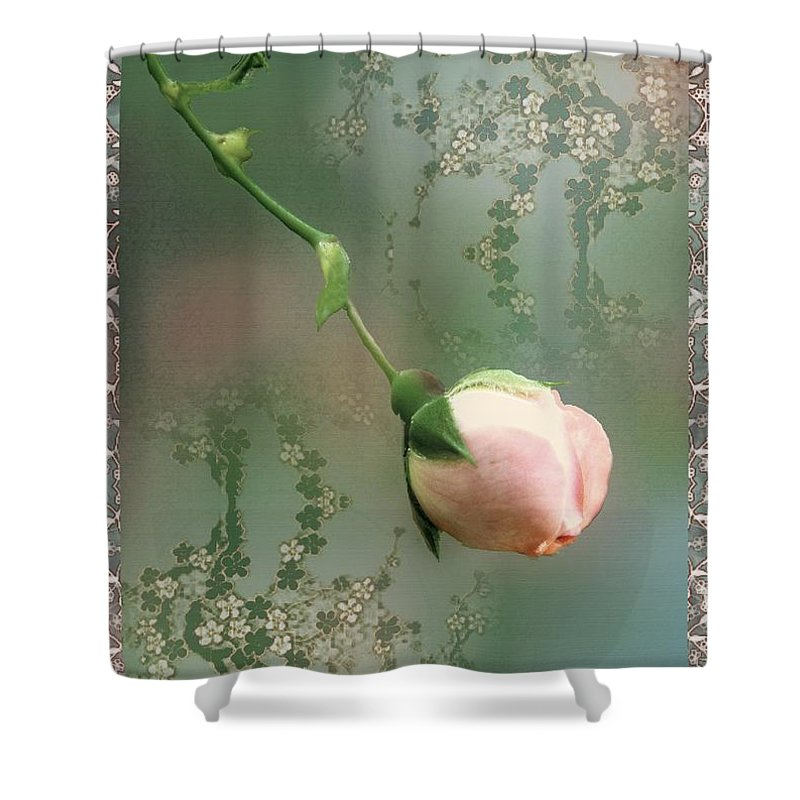 Rose Shower Curtain featuring the painting Penny Postcard Chinoiserie by RC DeWinter
