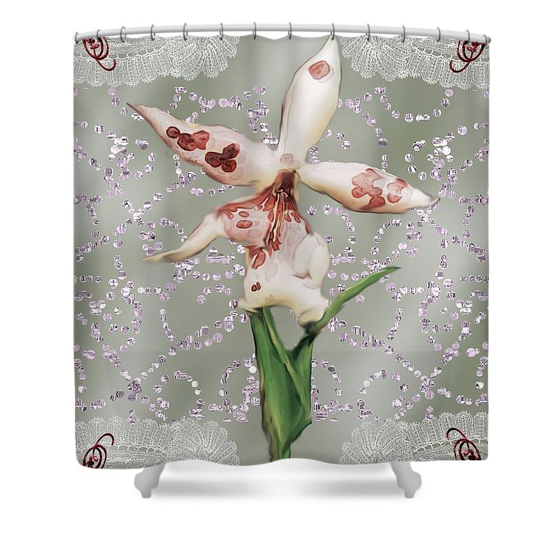 Orchid Shower Curtain featuring the painting Penny Postcard Exotica by RC DeWinter