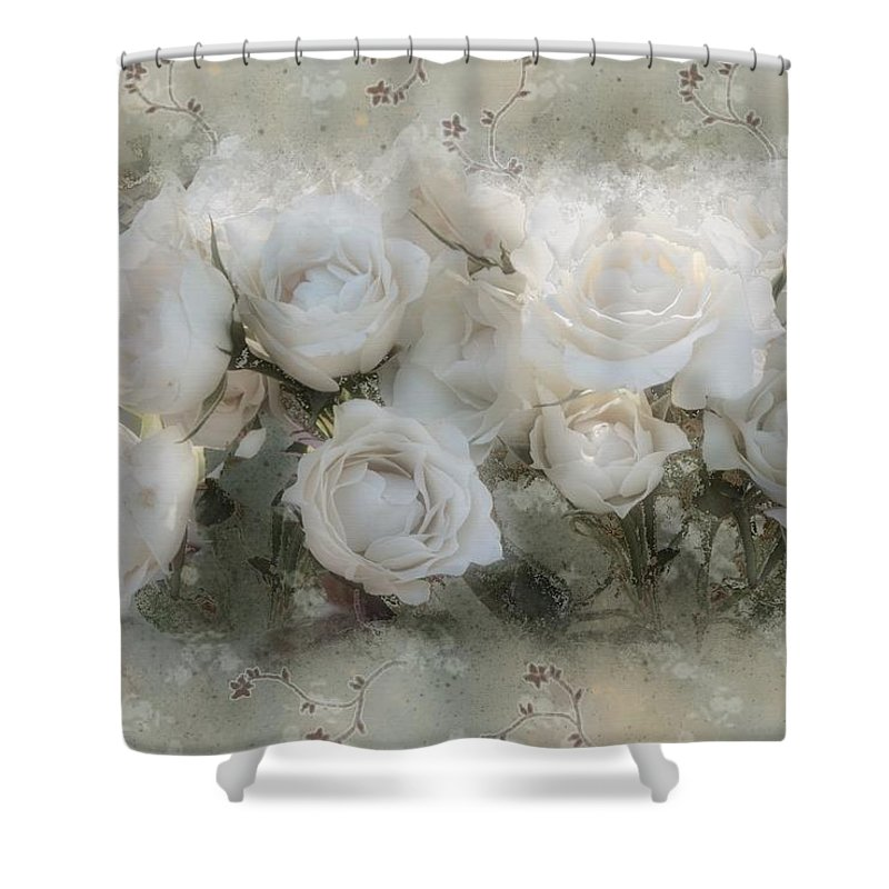 Roses Shower Curtain featuring the painting Penny Postcard Innocent by RC DeWinter