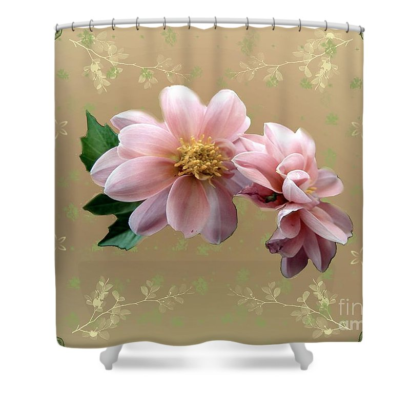 Delicate Shower Curtain featuring the painting Penny Postcard Pastorale by RC DeWinter