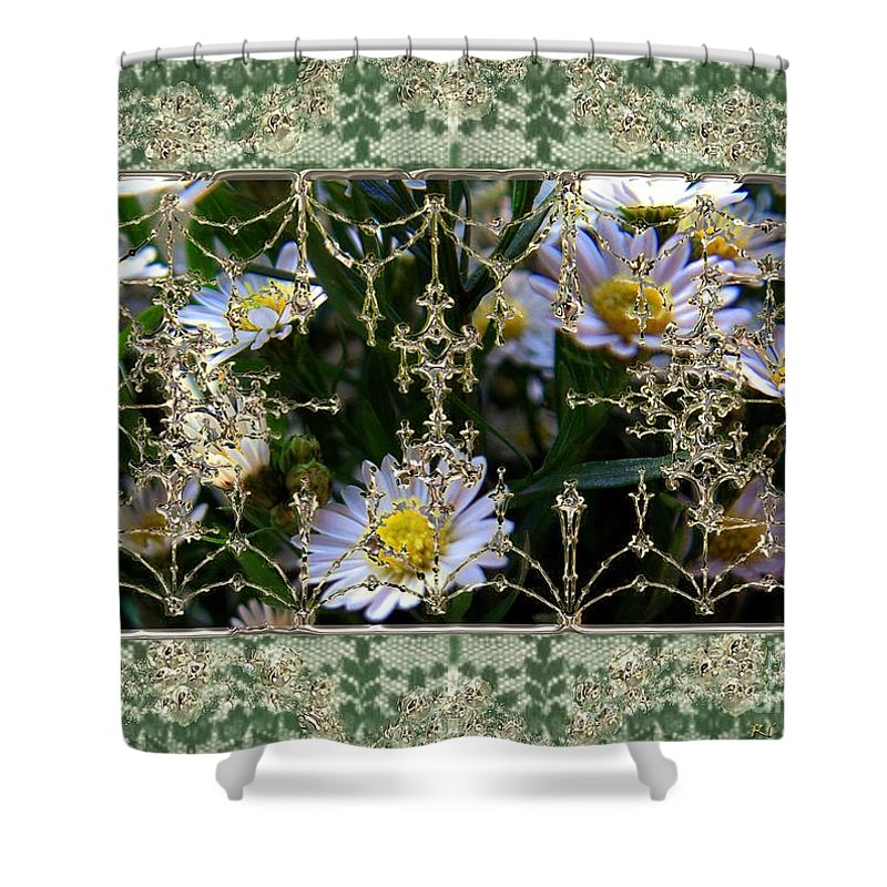 Daisies Shower Curtain featuring the painting Penny Postcard Rococo by RC DeWinter