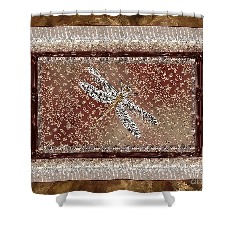 Dragonfly Shower Curtain featuring the painting Penny Postcard Sophisticated by RC DeWinter