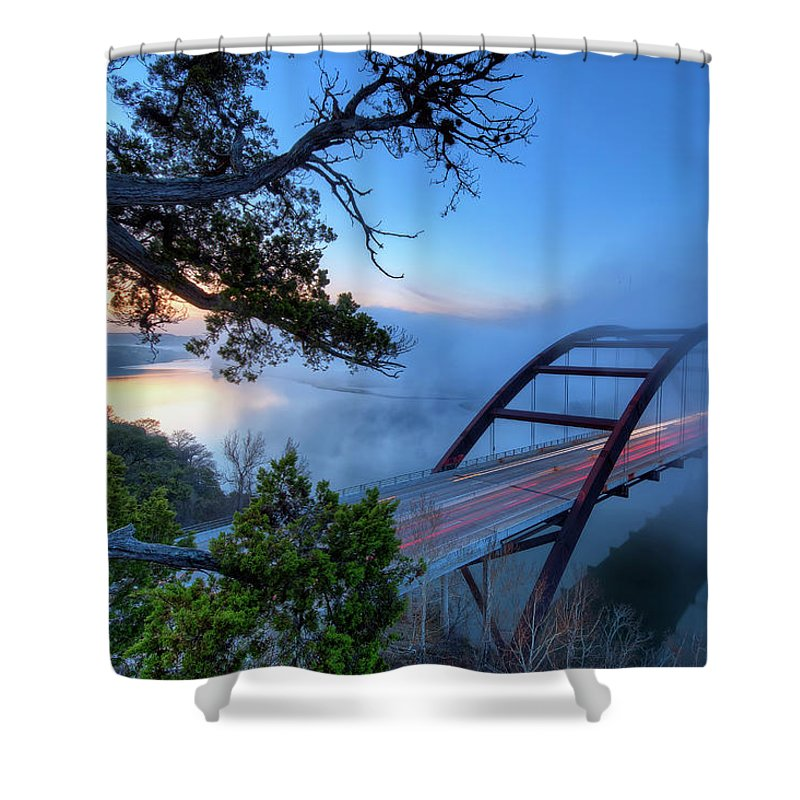 Tranquility Shower Curtain featuring the photograph Pennybacker Bridge In Morning Fog by Evan Gearing Photography