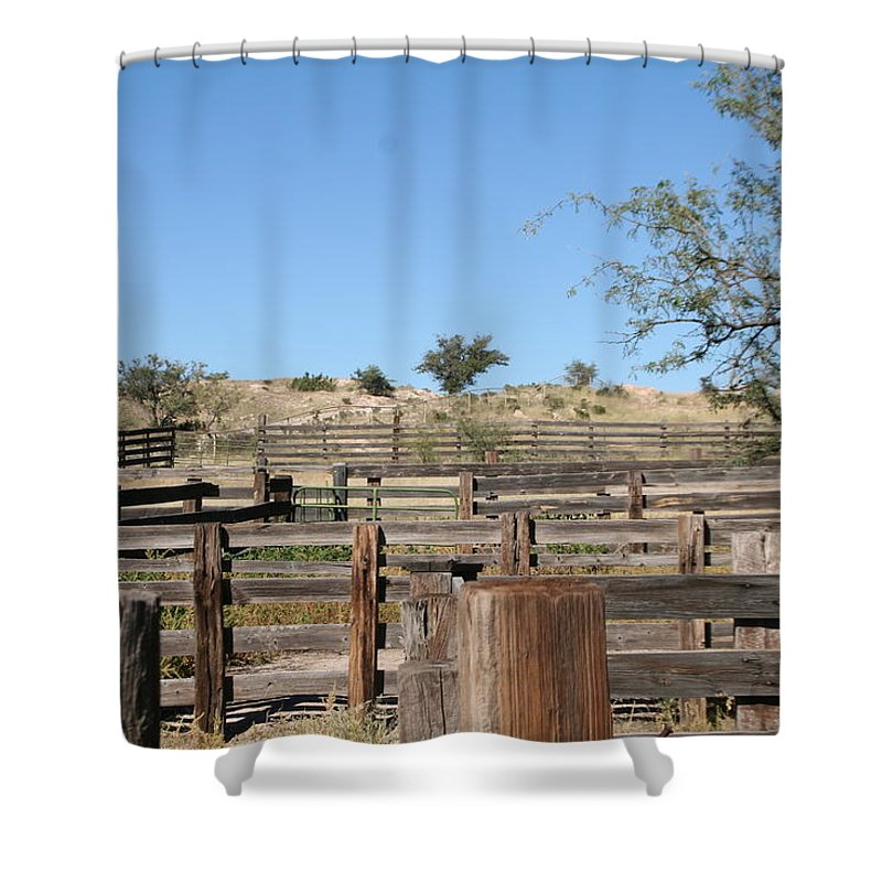 Ranch Shower Curtain featuring the photograph Pens by David S Reynolds