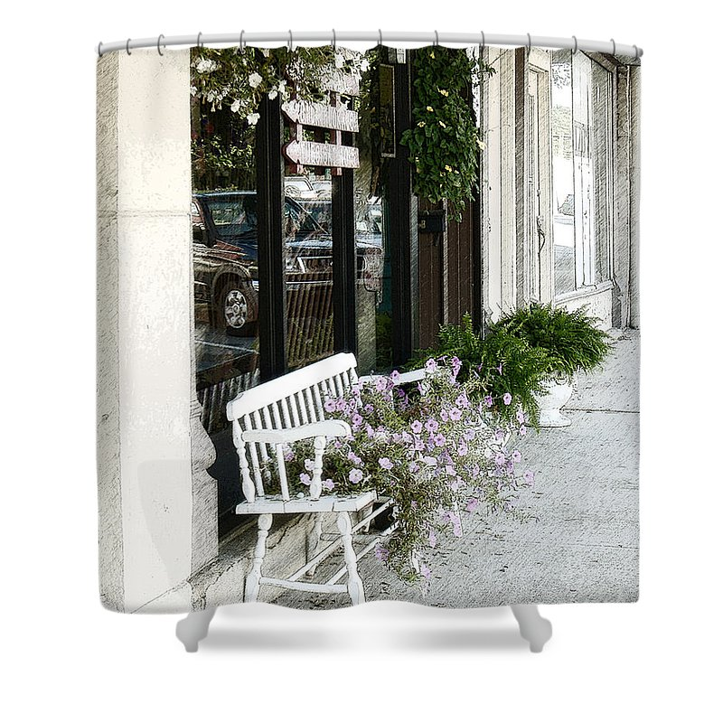 Paris Shower Curtain featuring the photograph Pentunia Bench by Lee Owenby