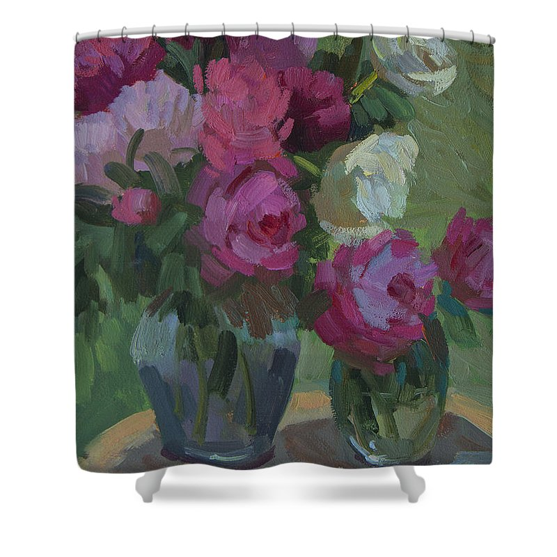 Peonies Shower Curtain featuring the painting Peonies In The Shade by Diane McClary