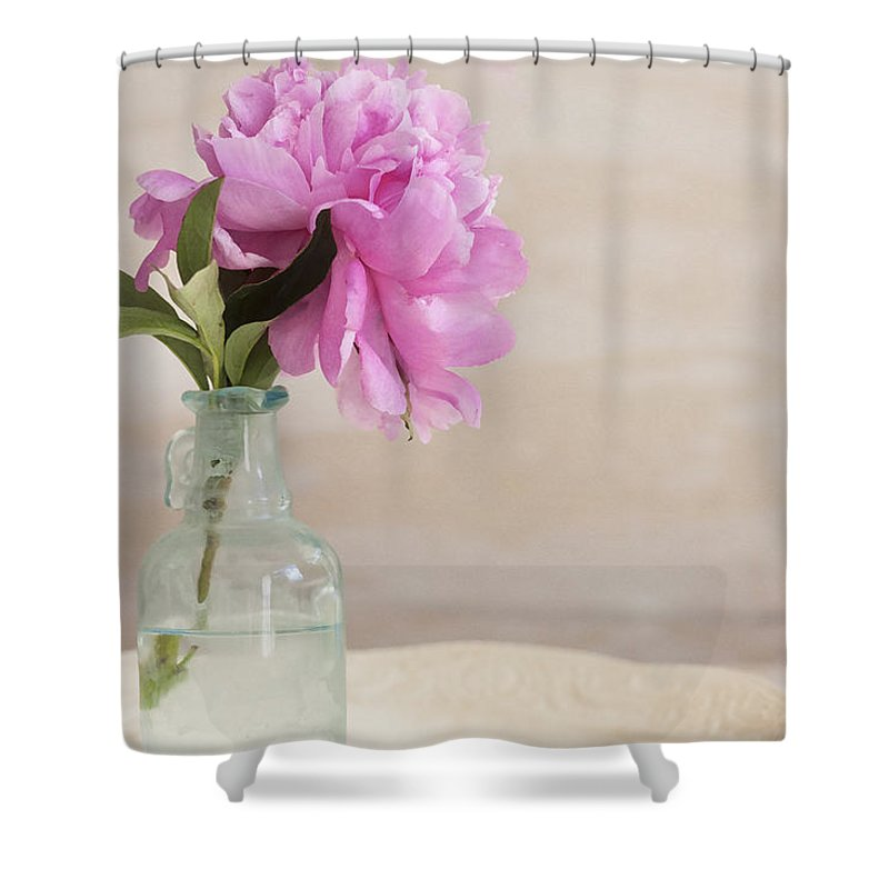Peony Shower Curtain featuring the photograph Peony And Blue Bottle by Rich Franco