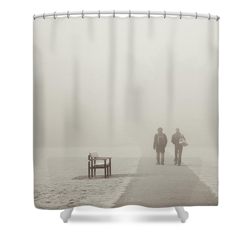 Cool Attitude Shower Curtain featuring the photograph People Walking On A Misty Morning by Elaine W Zhao