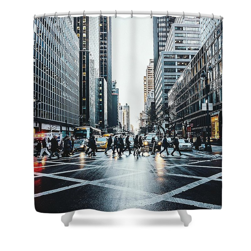 Pedestrian Shower Curtain featuring the photograph People Walking On City Street by Sven Hartmann / Eyeem