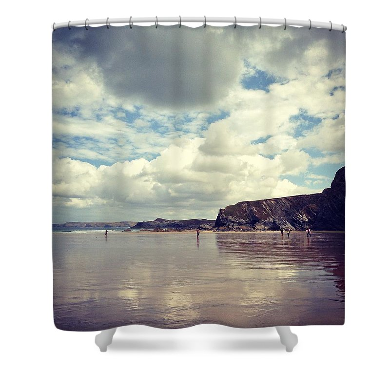 Mud Shower Curtain featuring the photograph People Walking On Wet Sand On Cloudy by Jodie Griggs