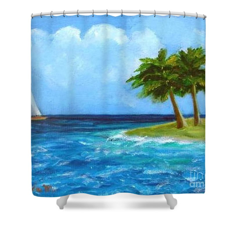 Boats Shower Curtain featuring the painting Perfect Sailing Day by Laurie Morgan