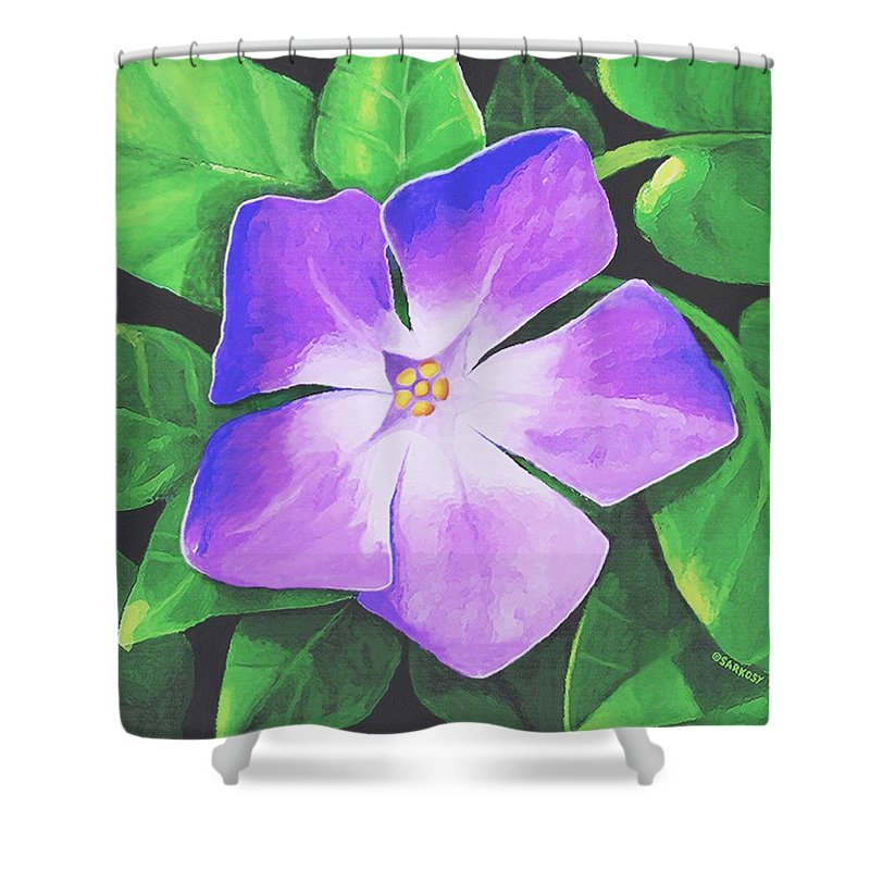 Floral Shower Curtain featuring the painting Periwinkle by Sophia Schmierer
